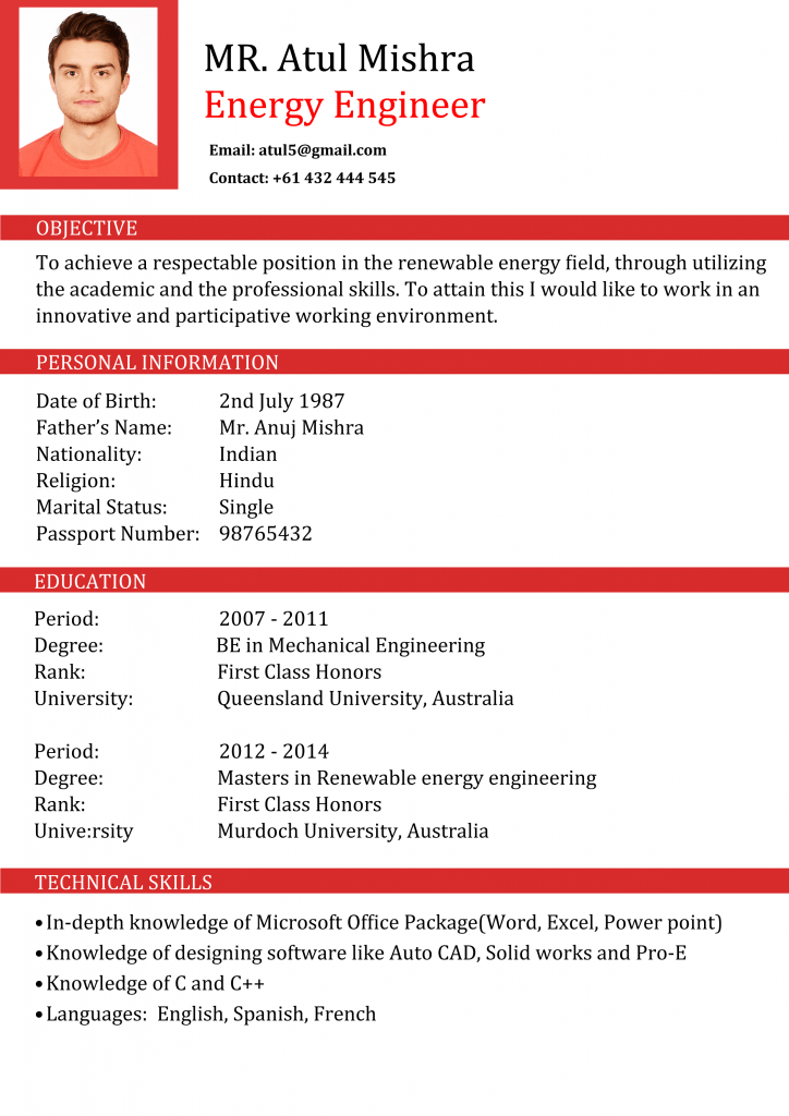 perfect cv for Engineers Australia