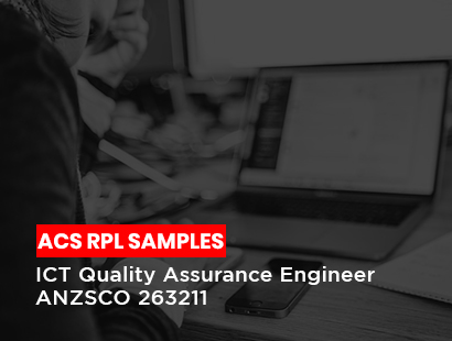 acs rpl sample for ICT quality assurance engineer